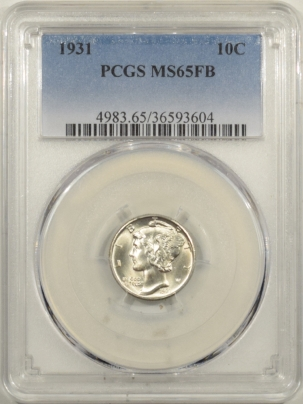 Coin World/Numismatic News Featured Coins 1931 MERCURY DIME PCGS MS-65 FB, WHITE WELL-STRUCK GEM!