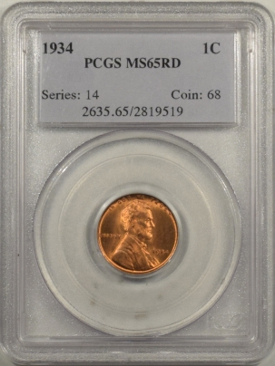 Lincoln Cents (Wheat) 1934 LINCOLN CENT – PCGS MS-65 RD