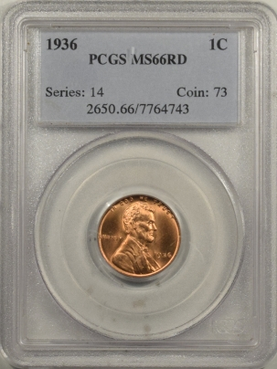 Lincoln Cents (Wheat) 1936 LINCOLN CENT – PCGS MS-66 RD
