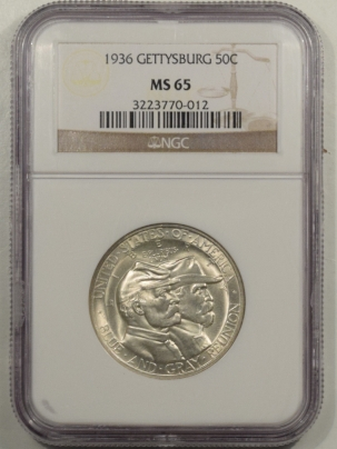 New Certified Coins 1936 GETTYSBURG COMMEMORATIVE HALF DOLLAR – NGC MS-65 FRESH WHITE GEM!