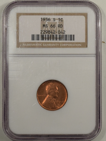 New Certified Coins 1936-S LINCOLN CENT – NGC MS-66 RD