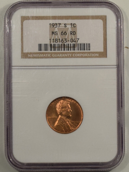 New Certified Coins 1937-S LINCOLN CENT – NGC MS-66 RD