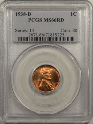 Lincoln Cents (Wheat) 1938-D LINCOLN CENT – PCGS MS-66 RD