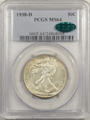 CAC Approved Coins 1938-D WALKING LIBERTY HALF DOLLAR PCGS MS-64 CAC, FRESH & PREMIUM QUALITY!