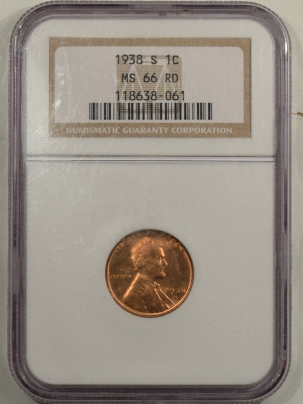 Lincoln Cents (Wheat) 1938-S LINCOLN CENT – NGC MS-66 RD
