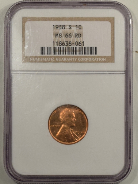 New Certified Coins 1938-S LINCOLN CENT – NGC MS-66 RD