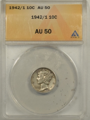 New Certified Coins 1942/1 MERCURY DIME ANACS AU-50, REALLY PLEASING EXAMPLE, KEY DATE