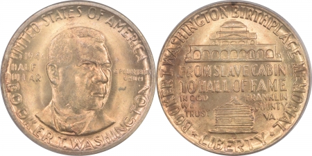 New Certified Coins 1946-P/D/S BOOKER T. WASHINGTON COMMEMORATIVE HALF DOLLAR 3 COIN SET PCGS MS-65