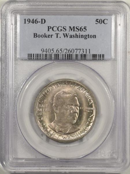 New Certified Coins 1946-D BOOKER T. WASHINGTON COMMEMORATIVE HALF DOLLAR PCGS MS-65, NICE GEM!