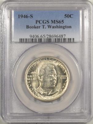 New Certified Coins 1946-S BOOKER T. WASHINGTON COMMEMORATIVE HALF DOLLAR PCGS MS-65, FLASHY GEM!