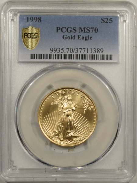 New Certified Coins 1998 $25 1/2 OZ AMERICAN GOLD EAGLE PCGS MS-70 RARE POP 51, PERFECT PCGS=$10,000