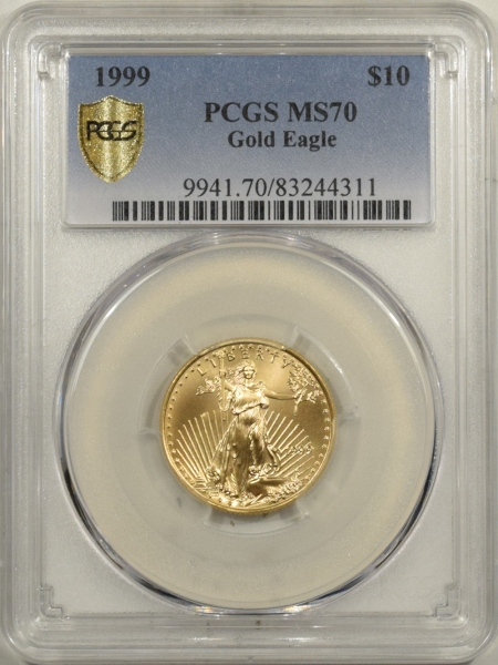 New Certified Coins 1999 $10 1/4 OZ AMERICAN GOLD EAGLE PCGS MS-70 RARE POP 77, PERFECT! PCGS= $1400