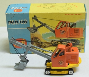 Corgi CORGI TOYS MAJOR #1128 PRIESTMAN CUB SHOVEL, BRIGHT EXC/NR-MINT W/ ORIGINAL BOX!