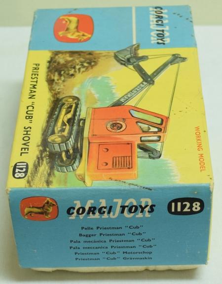 Corgi CORGI TOYS MAJOR #1128 PRIESTMAN CUB SHOVEL, BRIGHT EXC/NR-MINT W/ ORIGINAL BOX!