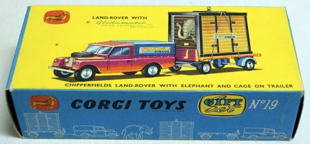 Vintage Diecast Toys CORGI GIFT SET 19, CHIPPERFIELDS LAND ROVER, ELEPHANT CAGE ON TRAILER, EXC/BOX!