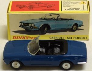 Dinky FRENCH DINKY #1423 CABRIOLET 504 PEUGOT, DARK BLUE, SCARCE, MINT W/ EXC BOX!