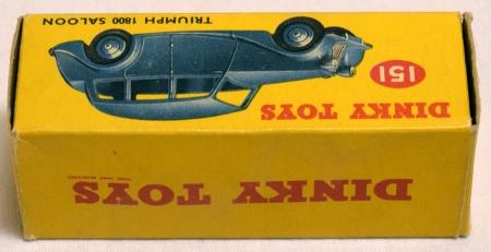 Dinky DINKY #151 TRIUMPH 1800 SALOON, FAWN BODY, GREEN HUBS, NEAR-MINT MODEL/ORIG BOX!