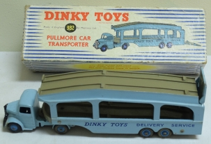 Dinky DINKY #982 PULLMORE CAR TRANSPORTER, 1ST VERSION-LIGHT BLUE, FAWN DECKS, VG+/BOX
