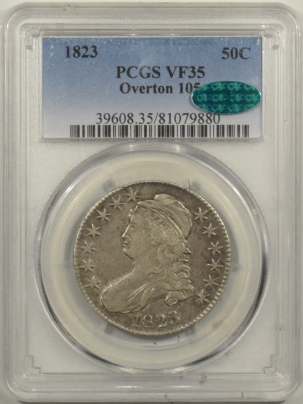 CAC Approved Coins 1823 CAPPED BUST HALF DOLLAR – O-105 – PCGS VF-35 CAC APPROVED!