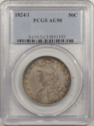 Early Halves 1824/1 CAPPED BUST HALF DOLLAR – PCGS AU-50 FRESH & PREMIUM QUALITY!