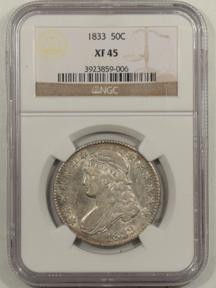 Early Halves 1833 CAPPED BUST HALF DOLLAR – NGC XF-45