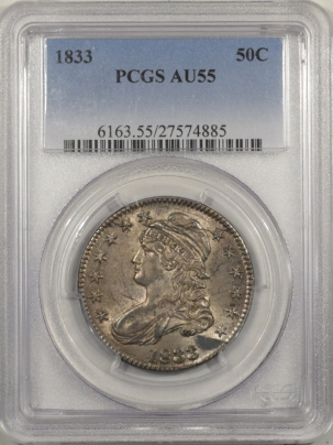 Early Halves 1833 CAPPED BUST HALF DOLLAR – PCGS AU-55, ORIGINAL & FLASHY