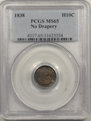 New Certified Coins 1838 SEATED LIBERTY HALF DIME – NO DRAPERY – PCGS MS-65 PRETTY!