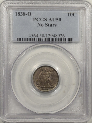 Coin World/Numismatic News Featured Coins 1838-O SEATED LIBERTY DIME – NO STARS – PCGS AU-50