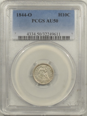 New Certified Coins 1844-O SEATED LIBERTY HALF DIME – PCGS AU-50