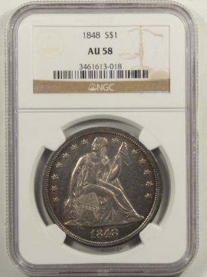 Liberty Seated Dollars 1848 LIBERTY SEATED DOLLAR – NGC AU-58, RARE!