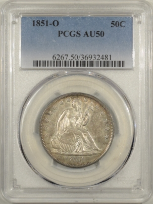 Liberty Seated Halves 1851-O SEATED LIBERTY HALF DOLLAR – PCGS AU-50 TOUGH DATE!