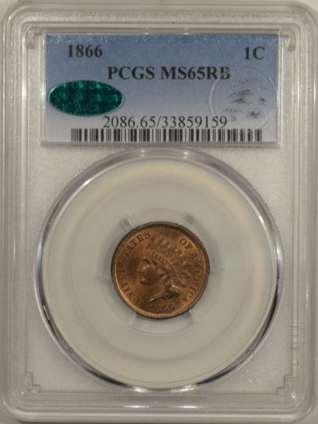 New Certified Coins 1866 INDIAN CENT – PCGS MS-65 RB FRESH FLASHY GEM EAGLE EYE PHOTO SEAL & CAC!