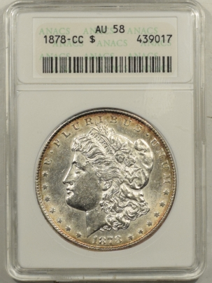 New Certified Coins 1878-CC MORGAN DOLLAR ANACS AU-58, SMALL WHITE HOLDER, CARSON CITY