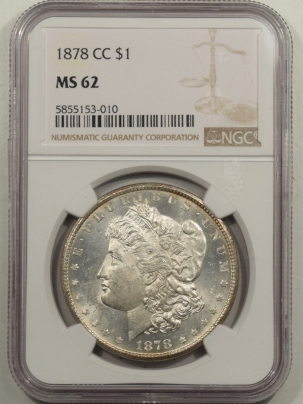 New Certified Coins 1878-CC MORGAN DOLLAR NGC MS-62, FLASHY W/ PRETTY REVERSE, CARSON CITY
