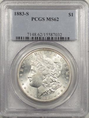 Morgan Dollars 1883-S MORGAN DOLLAR – PCGS MS-62, BLAST WHITE & PQ!