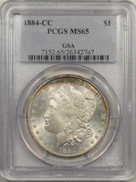 New Certified Coins 1884-CC MORGAN DOLLAR – PCGS MS-65, FLASHY GEM, GSA ON PCGS HOLDER