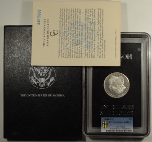Coin World/Numismatic News Featured Coins 1884-CC MORGAN DOLLAR GSA – PCGS MS-65+ DMPL WITH CASE, CARD & BOX. DEEP POP 1/3