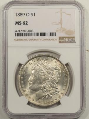 Dollars 1889-O MORGAN DOLLAR NGC MS-62, FRESH, FLASHY WHITE BU