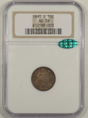 New Certified Coins 1890-S LIBERTY SEATED DIME – NGC AU-58 CAC APPROVED!, FRESH & PQ!