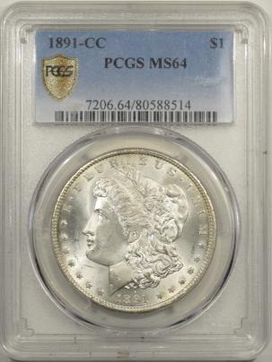 Morgan Dollars 1891-CC MORGAN DOLLAR – PCGS MS-64, FRESH & FLASHY!