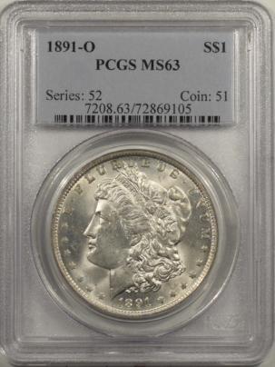 Dollars 1891-O MORGAN DOLLAR PCGS MS-63, BLAST WHITE & PQ!