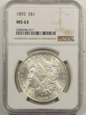 Dollars 1892 MORGAN DOLLAR NGC MS-63, BLAST WHITE & PQ!