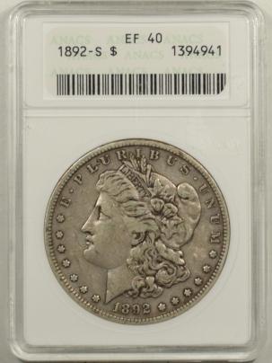 Dollars 1892-S MORGAN DOLLAR ANACS EF-40, ORIGINAL & PLEASING!, OLD WHITE HOLDER