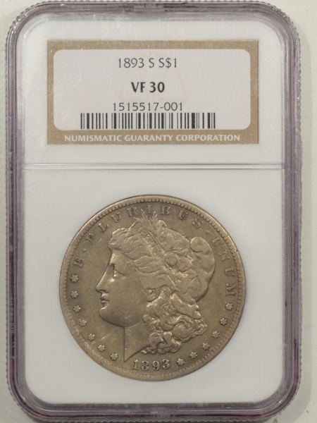 New Certified Coins 1893-S MORGAN DOLLAR – NGC VF-30