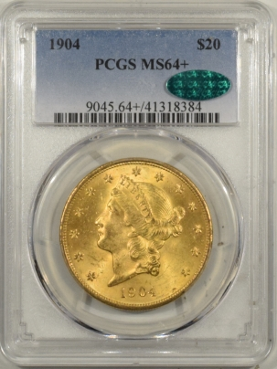 $20 1904 $20 LIBERTY HEAD GOLD – PCGS MS-64+ PREMIUM QUALITY! CAC APPROVED!