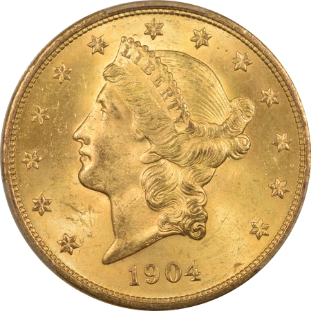 New Certified Coins 1904 $20 LIBERTY HEAD GOLD – PCGS MS-64+ PREMIUM QUALITY! CAC APPROVED!