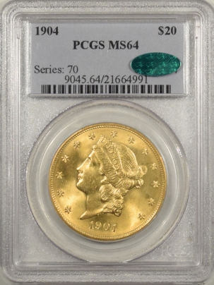 $20 1904 $20 LIBERTY GOLD – PCGS MS-64, CAC APPROVED!