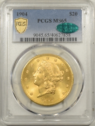 $20 1904 $20 LIBERTY GOLD – PCGS MS-65, CAC APPROVED! PQ! MS-66 QUALITY!
