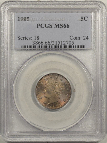 New Certified Coins 1905 LIBERTY NICKEL – PCGS MS-66 PRETTY & PREMIUM QUALITY!
