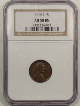 New Certified Coins 1916-S LINCOLN CENT – NGC AU-58 BN